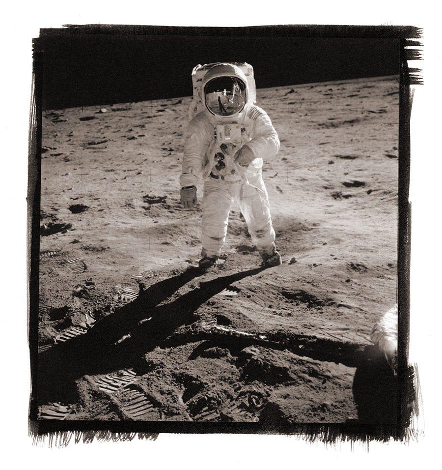 Buzz Aldrin on the Moon – Stampa al Platino Palladio